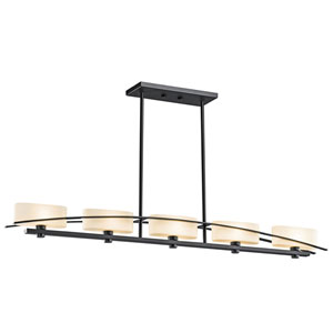 Suspension Painted Black Five-Light Island Pendant