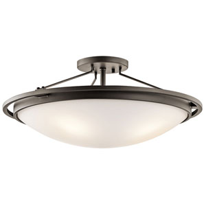 Olde Bronze Four-Light Semi-Flush Light