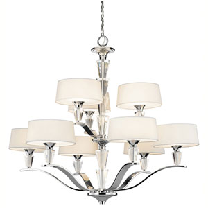 Crystal Persuasion Chrome Nine-Light Chandelier
