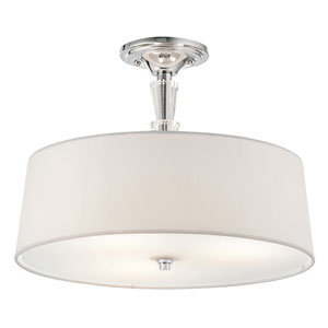 Crystal Persuasion Chrome Three-Light Semi-Flush Mount
