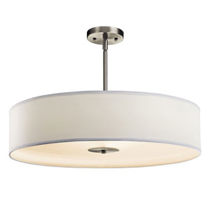 Brushed Nickel Three-Light Inverted Pendant