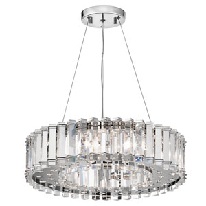 Crystal Skye Chrome Eight-Light Pendant Crystal
