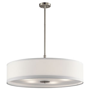 Brushed Nickel Five-Light Drum Pendant