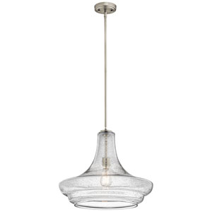 Everly Brushed Nickel 19-Inch One Light Pendant