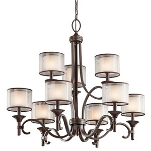 Lacey Mission Bronze Nine-Light Chandelier