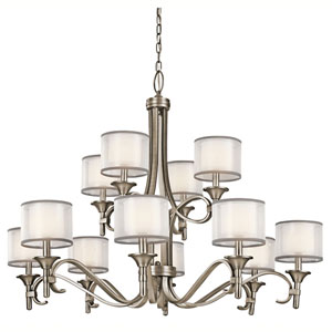 Lacey Antique Pewter Twelve-Light Chandelier