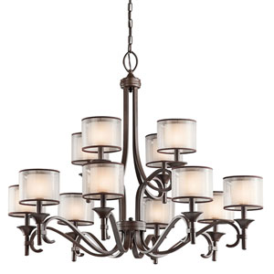 Lacey Mission Bronze Twelve-Light Chandelier