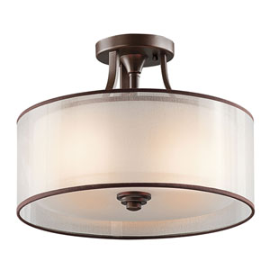 Lacey Mission Bronze Three-Light Semi Flush Mount