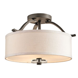 Leighton Olde Bronze Three-Light Semi Flush Mount