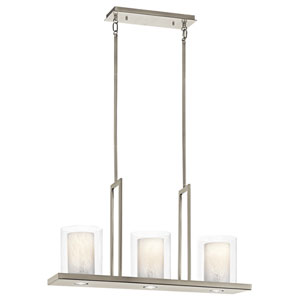 Triad Classic Pewter Three-Light Pendant - Width 7.75 Inches