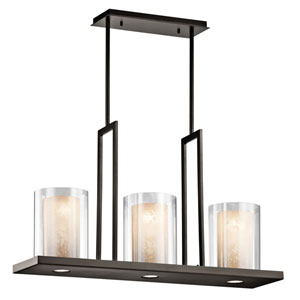 Triad Olde Bronze Three Light Single Linear Chandelier