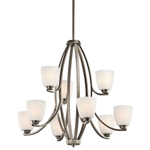 Granby Brushed Pewter Nine-Light Chandelier