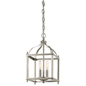 Larkin Brushed Nickel Two Light Foyer Cage Pendant