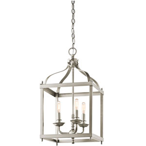 Larkin Brushed Nickel Three Light Cage Foyer Pendant