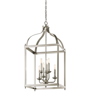 Larkin Brushed Nickel Six Light Cage Foyer Pendant
