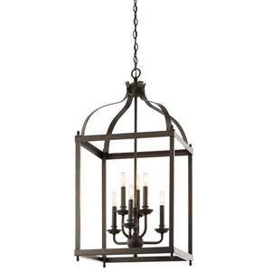 Larkin Olde Bronze Six Light Cage Foyer Pendant