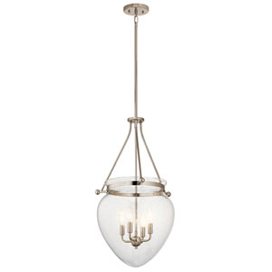 Belle Polished Nickel 17-Inch Four-Light Foyer Pendant