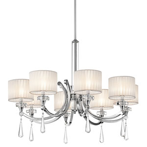 Parker Point Eight-Light Chrome Chandelier w/ K9 Optical Crystal Column and Accents and Organza Fabric Shades
