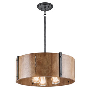 Elbur Distressed Black Three-Light Pendant