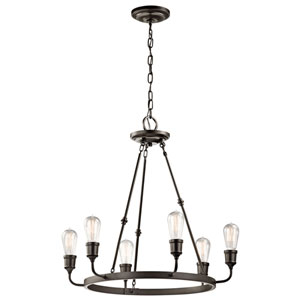 Lucien Olde Bronze Six Light Medium One Tier Chandelier