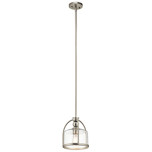Brushed Nickel 10-Inch One-Light Mini Pendant