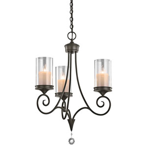 Laurel Shadow Bronze Three-Light Chandelier