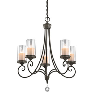 Laurel Shadow Bronze Five-Light Chandelier