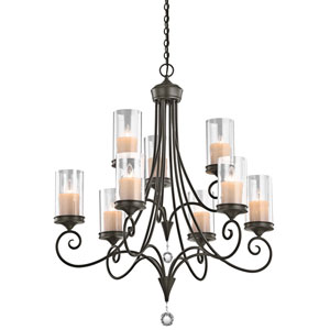Laurel Shadow Bronze Nine-Light Chandelier