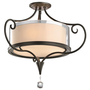 Laurel Shadow Bronze Three-Light Semi Flush Mount