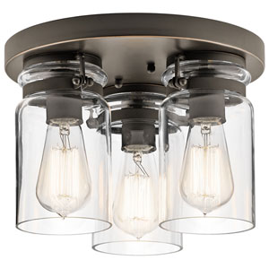 Brinley Olde Bronze Three-Light Flush Mount