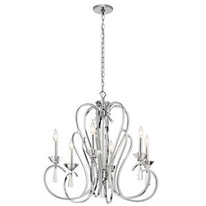 Optic Ice Chrome 29-Inch Six-Light Chandelier