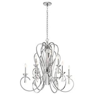 Optic Ice Chrome 36-Inch Nine-Light Chandelier