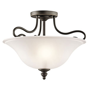 Tanglewood Olde Bronze Two-Light Semi-Flush Light