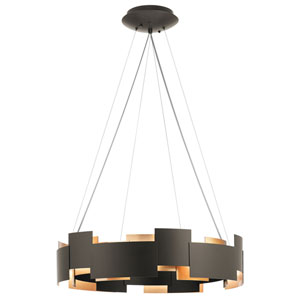Moderne Olde Bronze 27-Inch Two-Light LED Pendant with Polycarbonate Shade