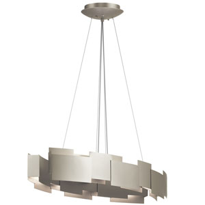 Moderne Satin Nickel 16-Inch Two-Light LED Oval Pendant