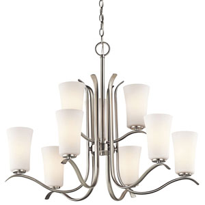 Armida Brushed Nickel Nine-Light Chandelier