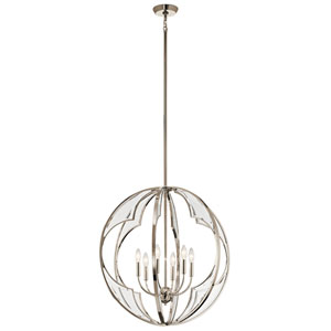 Montavello Polished Nickel 26-Inch Six-Light Chandelier