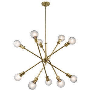 Armstrong Natural Brass Ten-Light Starburst Pendant