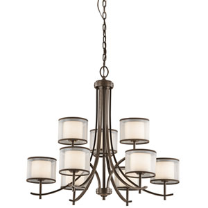Tallie Mission Bronze Nine-Light Chandelier
