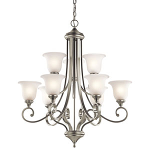 Monroe Nine-Light Brushed Nickel Chandelier