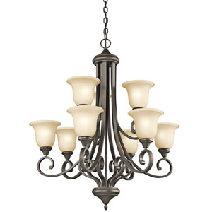 Monroe Olde Bronze Nine-Light Chandelier w/Lighted Bowl