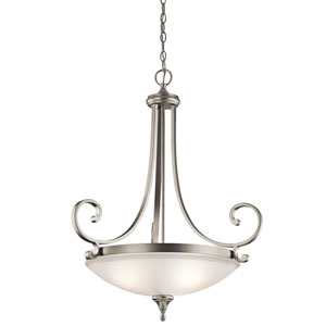 Monroe Two-Light Brushed Nickel Wide Inverted Pendant