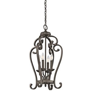 Monroe Olde Bronze Four-Light Foyer Cage