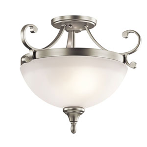 Monroe Two-Light Brushed Nickel Semi-Flush