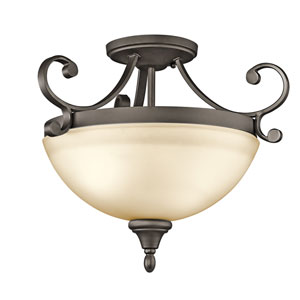 Monroe Olde Bronze Two-Light Semi-Flush Light