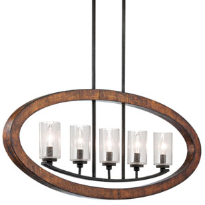 Grand Bank Five-Light Auburn Stained Finish Island Pendant