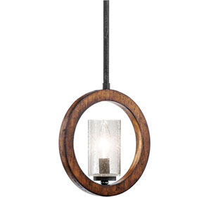 Grand Bank One-Light Auburn Stained Finish Convertible Mini Pendant
