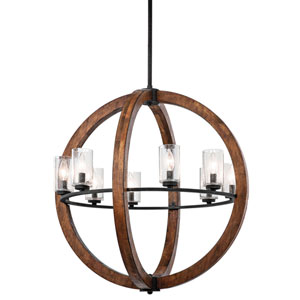 Grand Bank Eight-Light Auburn Stained Finish Pendant