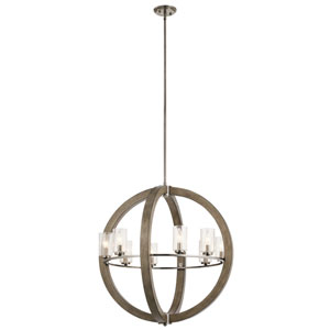 Grand Bank Distressed Antique Gray 28-Inch Eight-Light Chandelier