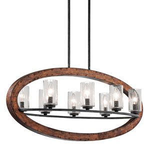 Grand Bank Eight-Light Auburn Stained Finish Island Pendant